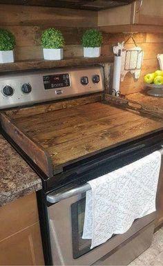 Wood stove top cover! Love the rustic style of this cover! Rustic Kitchen decor, Farmhouse decor, Farmhouse kitchen, Rustic decor, noodle Board, Stove cover, gift idea, Primitive decor #ad