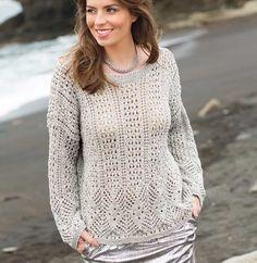 Пуловер-оверсайз с ажурным узором - схема вязания спицами. Вяжем Пуловеры на Verena.ru