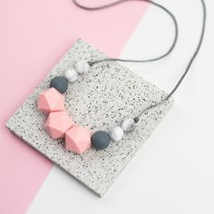 Seb&Roo teething necklaces are a stylish accessory for mum and perfect for little one to fiddle with and chew. Sammy is a simple design in grey, mint and turquoise. Teething Necklace For Mom, Teething Jewelry, Teething Beads, Nursing Necklace, Diy Necklace, Mona, Only Play, Monochrom, Gifts For New Moms