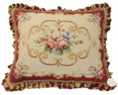 "20"" OLD Vintage Antique Design Roses Floral Needlepoint Petit point Pillow Cover"