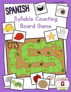 Spanish Syllable Awareness: Syllable Counting Board Game: Students count the syllables using picture cards to advance to the end of this board game. Fun game for the beginning of the year! $