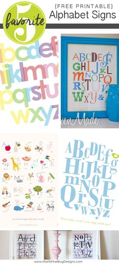 Adorable free printable Alphabet Signs. Perfect to decorate in your kid's rooms or bathrooms.  You can even print it out to practice letter recognition!