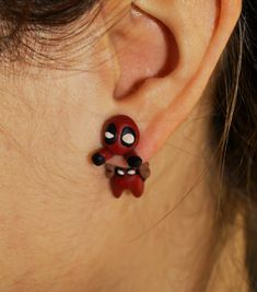 Deadpool earring. Select 1 earring or a pair 2 by TroppaMangaStyle