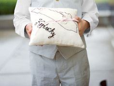 Sweet hand stitched ring bearer pillow // John Dolan photography // Country Living