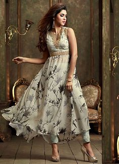 Anarkali Style Gray Color with Printed Work Incredible Unstitched Salwar Kameez - UAFO077A01AEP | Indian Trendz