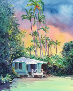 This is on my wall so I can dream about some day staying at the Waimea Plantation cottages with Aston! Dreams of Kauai Plantation Cottage 8x10 print from Kauai Hawaii sunset aqua mint