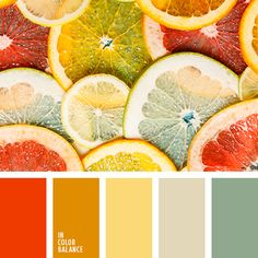 KITCHEN COLOUR PALETTE Delicious, deep cocktail made of warm and cold vivid colors. Orange, light yellow, mint, grey-beige represent pure and harmonious combination.