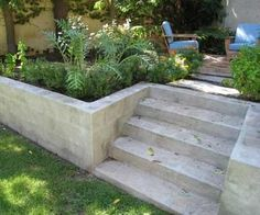 New garden diy projects landscaping retaining walls Ideas Retaining Wall Fence, Concrete Block Retaining Wall, Landscaping Retaining Walls, Concrete Stairs, Front Yard Landscaping, Deck Stairs, Retaining Wall Gardens, Retaining Wall With Steps, Sleeper Retaining Wall