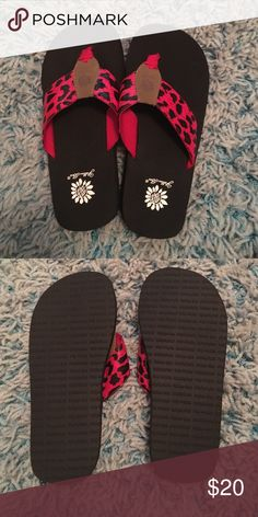 342e2ddead5f Shop Women s Yellow Box Red Black size Sandals at a discounted price at  Poshmark. Description  Red cheetah print yellow box flip flops size Price  is firm.