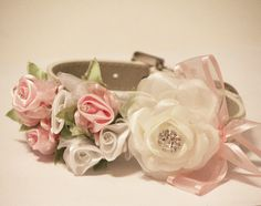 White Light Pink Wedding Dog Collars. Light Pink and White Floral with Rhinestones -2 High Quality Leather Collar, Wedding Dog Accessory