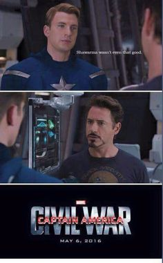 I am loving all this civil war jokes / Avengers / Civil War / Tony Stark / Steve Rogers