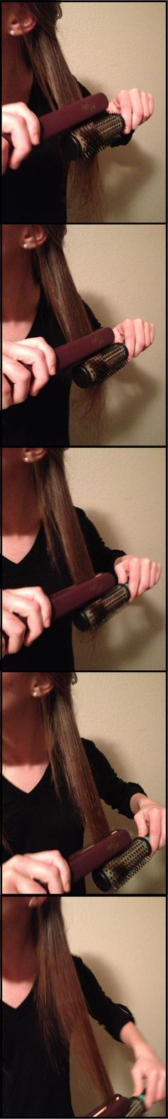 How to guide your hair with a brush while straightening - this helps avoid end damage!
