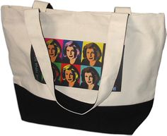 "Haha! ""This clever cotton canvas bag pays homage to two notable pillars of public broadcasting: the tote bag and NPR's Legal Affairs Correspondent, Nina Totenberg."""