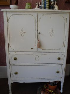 Antique Chest of Drawers Dresser in Shabby by VintageAppleTreasure, $450.00 SOLD!!! New home in NYC, VP of Saks Fifth Ave. - Really!