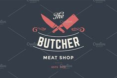 Emblem of Butcher meat shop with Cleaver and Chefs knives by FoxysGraphic on @creativemarket