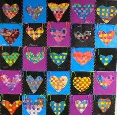 In the Art Room: First Grade Fiber Arts (Cassie Stephens) Paper Weaving, Weaving Art, Weaving Projects, Art Projects, First Grade Art, Cassie Stephens, Valentines Art, Kindergarten Art, Art Lessons Elementary