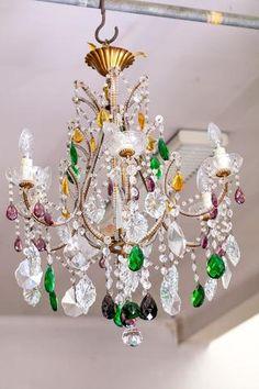 Attr. MAISON BAGUES Lustre à 6 bras de lumière à pampilles en Hanging Crystals, Chandelier, Ceiling Lights, Lighting, Home Decor, Style, Cluster Pendant Light, Ring, Arm