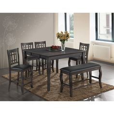 Darby Home Co Flack 6 Piece Extendable Dining Set Color: Grey Counter Height Kitchen Table, Counter Height Stools, Dining Furniture, Furniture Deals, Outdoor Furniture Sets, Coaster Furniture, Dining Room Sets, Dining Table Chairs, Bar Chairs