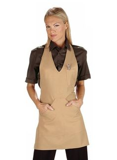 Zástěra do V s kapsami - 28 barevných variant - ILLA & Partners Salon Wear, Housekeeping Uniform, Barber Apron, Work Uniforms, Uniform Design, Apron Dress, Leather Design, Work Wear, Cold Shoulder Dress