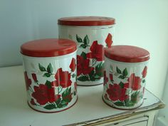 Vintage PARMECO Metal Kitchen Canister Set WILENDUR Red ROSES like on Tablecloth