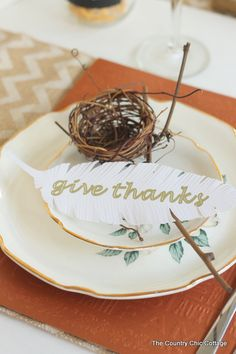 Give Thanks Paper Feathers made with Cricut Explore -- The Country Chic Cottage. #DesignSpaceStar Round 4