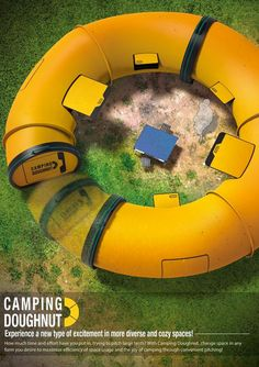 The Camping Doughnut is a design concept created by Sungha Lim, Hyunmook Lim, and Han Kim that replaces the traditional tent with a collapsible, rearrangeable camping Habitrail of sorts. The modular system can be reconfigured into various shapes and collapsed down and attached to the roof of a car for transport.