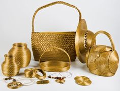 Arts made with Golden Grass, from Brazil.