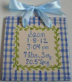 Blue plaid baby boy birth announcement tile by CarolineCo on Etsy Baby Boy Birth Announcement, Birth Announcements, Vine Design, Baby Boy Fashion, Blue Ribbon, Blue Plaid, Baby Gifts, Nursery, Hand Painted