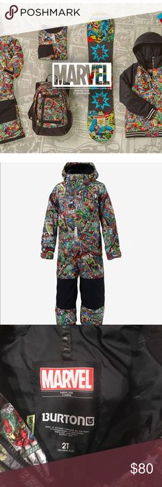 Marvel Special Edition Snowsuit This is the most adorable snowsuit! Photos don't do it justice. Size 2T is too small for my boys. Perfect condition and ready for wearing this winter! Priced to sell quick, open to best offer too! Burton Jackets & Coats