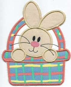 BUNNY in Basket Patch 2 ironon machine embroidered by QUILTSRUS08, $3.50