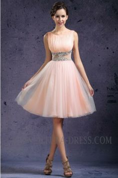 Pink Tank Top Knee Length Tulle A Line Party Dress With Beading 11010600 - Party Dresses - Special Occasion Dresses