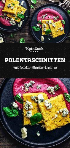 Baked Polenta Slices with Beetroot Cream Best Vegetarian Recipes, Easy Healthy Recipes, Polenta Vegan, Polenta Pizza, Quick Weeknight Meals, Easy Meals, Go Veggie, Wonderful Recipe, Recipe Please