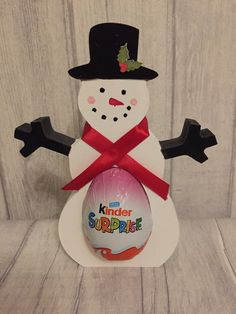 Hand painted snowman kinder egg holder choose from Girl or boy option Painted Snowman, Egg Holder, Table Centerpieces, Personalized Gifts, Sweet Treats, Eggs, Hand Painted, Christmas, Xmas