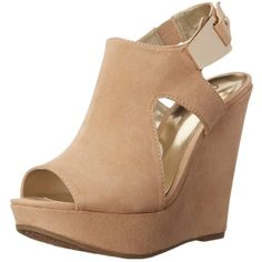 Carlos by Carlos Santana Women's Malor Wedge Sandal (37 CAD) ❤ liked on Polyvore featuring shoes, sandals, wedges shoes, adjustable strap sandals, wedge heel sandals, open toe high heel shoes and open toe sandals