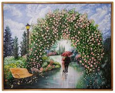 "Romantic Rainy Walk Box Wood Frame  16"" x 20"" Beautiful Colorful Acrylic on Canvas.  Home Decor FREE SHIPPING"