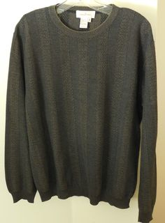 Mens Ermenegildo Zegna Crewneck Sweater Brown M/50 Cotton Rayon Italy #ErmenegildoZegna #Crewneck
