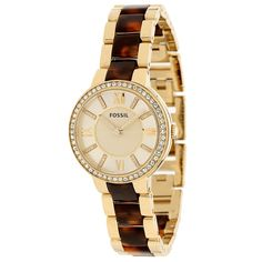 This classic timepiece by Fossil features a stainless steel case and bracelet. A gold tone dial, precise quartz movement and a water-resistance level of up to 50 meters finish this fine timepiece.