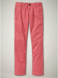 """His long-awaited """"pink pants""""!  GapKids garment-dyed chinos in coral coast.  Retail $29.95, but I never pay retail ;)"""