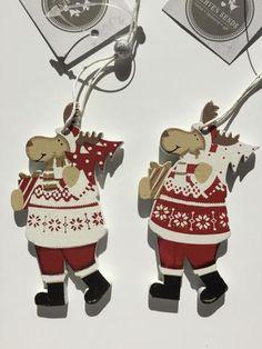 Pair of Wooden Hanging Reindeers by Heaven Sends