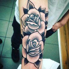 [1st Ink] Two Dotwork Roses Done By Luke @ BlackCraft Custom Tattoos, Wakefield, UK