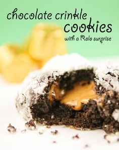 Chocolate Crinkle Cookies with a Rolo Surprise   pipandebby.com