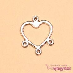 Ezüstszínű kis szív - fém ékszer alap