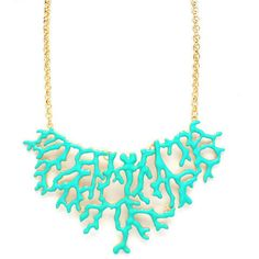 Urban Anthropologie Coral Reef Nautical Turquoise Blue Nicole Gold Bib Necklace | eBay