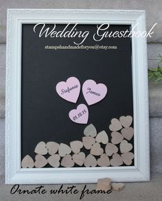 Wedding guest book white with  hearts by stampshandmadeforyou