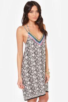Details, details, details! Gold beading at neck, double straps on shoulder and racerback. Back to Bali Black Floral Print Dresst $42 | LuLus.com!