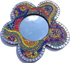 Inspired by the bright colours of a carnival this mosaic mirror kit is great fun to make. Perfect for beginners, this mosaic mirrror kit is a great way to get started in mosaics while also creating a beautiful project that you'll love! Mosaic Tile Supplies, Mosaic Kits, Mosaic Tile Art, Mirror Mosaic, Mosaic Crafts, Mosaic Projects, Mosaic Glass, Mosaic Ideas, Stained Glass