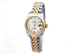 18k Yellow Gold and Stainless Steel. Mother of Pearl Roman Numeral Dial. #179173
