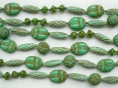 "VINTAGE ART DECO EGYPTIAN REVIVAL NEIGER CZECH GLASS SCARAB NECKLACE 36"" LONG"