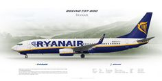 Boeing 737-800NG Ryanair EI-FIJ | www.aviaposter.com | Airliners profile print | #airliners #aviation #jetliner #airplane #pilot #avia #airline