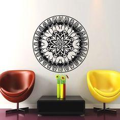 Mandala Wall Decal Flower Mandala Vinyl Sticker Indian Lotus Murals Interior Home Decor Ah186 Yoga Studio Decor, Flower Mandala, Murals, Lotus, Wall Decals, Indian, Stickers, Handmade Gifts, Interior